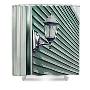 Green Geometry Shower Curtain
