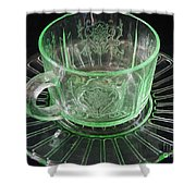 Green Glass Cup And Saucer Shower Curtain