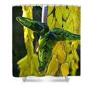 Green Glass Leaves Shower Curtain