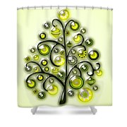 Green Glass Ornaments Shower Curtain