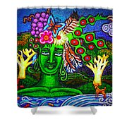 Green Goddess With Waterfall Shower Curtain