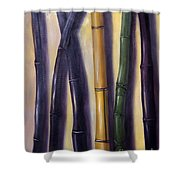 Green Gold And Black Bamboo Shower Curtain