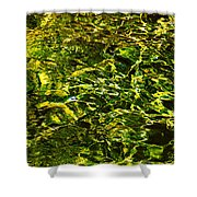 Green Gold Water Abstract. Feng Shui Shower Curtain by Jenny Rainbow