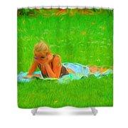 Green Grass Girl Shower Curtain