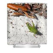 Green Grasshopper Shower Curtain