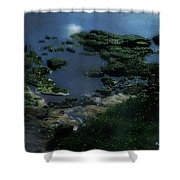 Green Green Rocky Road Shower Curtain