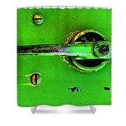 Green Handle Shower Curtain