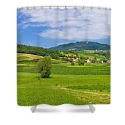Green Hills Nature Panoramic View Shower Curtain