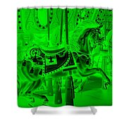 Green Horse Shower Curtain