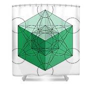 Green Hypercube Shower Curtain
