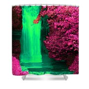 Green Irish Waterfall Surrounded By Pink Shower Curtain