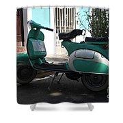 Green Vespa Shower Curtain