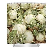 Green Kohlrabi Basket Display Shower Curtain