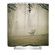 Green Lane On A Foggy Morning Shower Curtain
