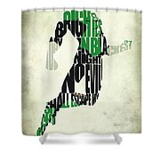 Green Lantern Shower Curtain by Ayse Deniz