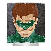 Green Lantern Superhero Portrait Recycled License Plate Art Shower Curtain