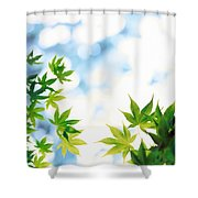 Green Leaves On Mottled Cloudy Sky Shower Curtain