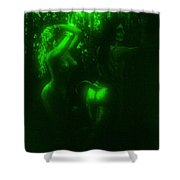 Green Light On Wood Nymphs Shower Curtain