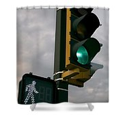 Green Light Walk Shower Curtain