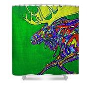 Green Mega Moose Shower Curtain