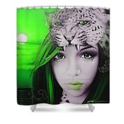 Green Moon Shower Curtain