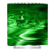 Green Multi Colored Water Drop Bubbling Shower Curtain