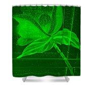 Green Negative Wood Flower Shower Curtain