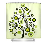 Green Ornaments Shower Curtain