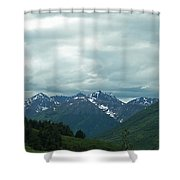 Green Pastures And Mountain Views Shower Curtain