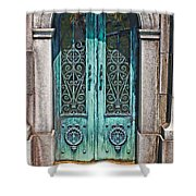 Green Patina Shower Curtain by Marcia Lee Jones