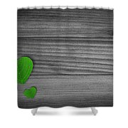 Green Pedal Shaped Hearts Shower Curtain