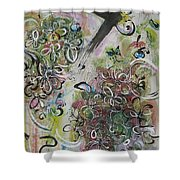 Green Pink Brown Abstract Art Spring Color Blossom Flower Butterfly Painting Abstract Acrylic Ink Ar Shower Curtain