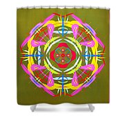 Green Pink Yellow Abstract Shower Curtain