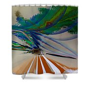 Green Planets Shower Curtain