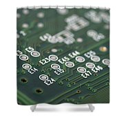 Green Printed Circuit Board Closeup Shower Curtain by Matthias Hauser