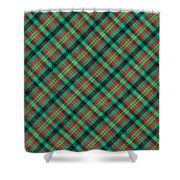 Green Red And Black Diagonal Plaid Textile Background Shower Curtain