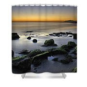 Green Rocks At Sunset Shower Curtain