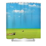 Green Sea And Boats Shower Curtain