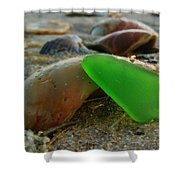 Green Sea Glass And Shells Hatteras Island 9 10/17 Shower Curtain