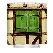 Green Shutters In Colmar France Shower Curtain