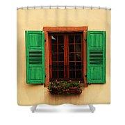 Green Shutters In Niedermorschwihr France Shower Curtain