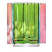 Green Shutters Pink Stucco Wall 2 Shower Curtain