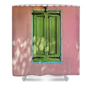 Green Shutters Pink Stucco Wall Shower Curtain