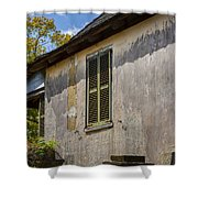 Green Shutters Stucco Walls St Augustine Shower Curtain