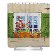 Green Shutters With Red Flowers Shower Curtain