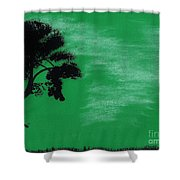 Green Sky Sunset Shower Curtain