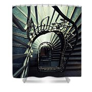 Green Spiral Staircase Shower Curtain
