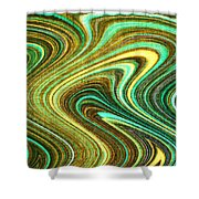 Green Swirls Mind Bend Shower Curtain