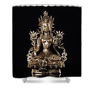 Green Tara Buddhist Goddess Statue Shower Curtain