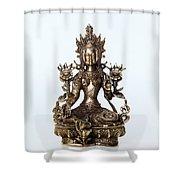 Green Tara Goddess Statue Shower Curtain